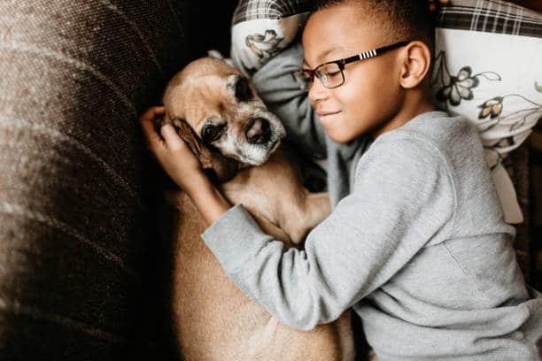 Enfant de 9 ans qui fait un calin à son chien sur le canapé