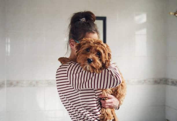 Femme qui tient son petit chien dans ses bras
