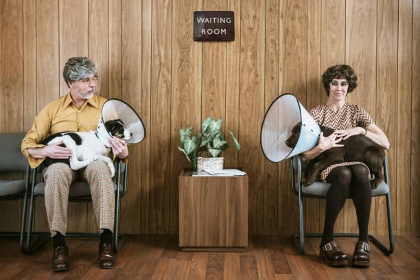 Une femme et un homme dans une salle d'attente de vétérinaire, qui tiennent chacun leur chien en camisole sur leurs genoux